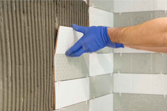 Kitchen Backsplash Design installed by worker